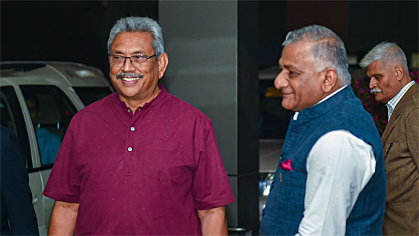 Sri Lankan President Gotabaya Rajapaksa being welcomed by Union Minister Gen VK Singh on his arrival for 3-day India visit, in New Delhi