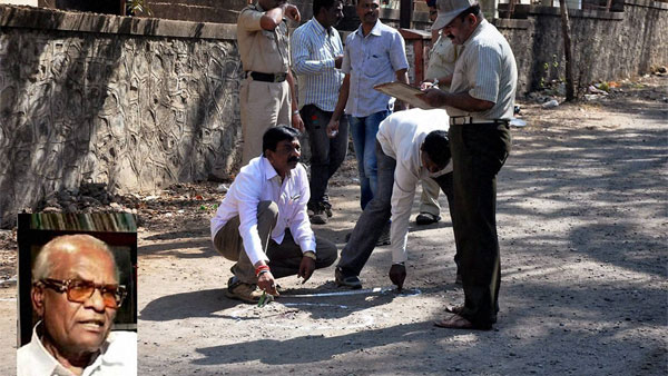 Police officials investigate the spot where Veteran CPI leader Govind Pansare (inset) was shot at near his home at Sagarmala in Kolhapur, Maharashtra