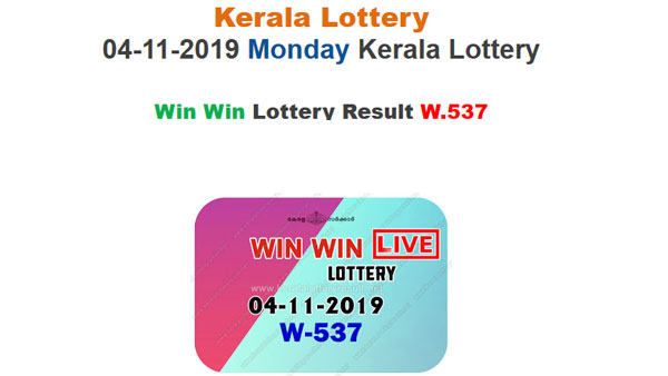 Kerala State Lottery: Win Win W-537 lottery result LIVE, now