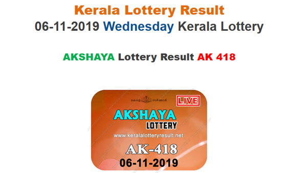 Kerala State Lottery today lottery result for Akshaya AK-418