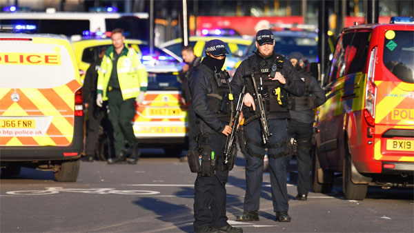 Armed police at the scene of an incident on London Bridge in central London