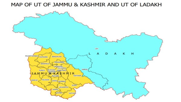 New maps of two new Indian Union territories: J&K, Ladakh