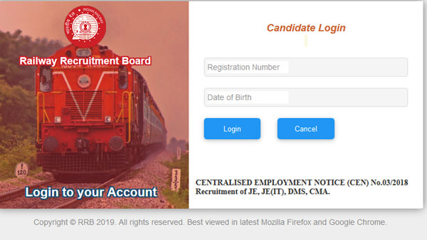 Download RRB JE Admit Card 2019 for DV and medical exam