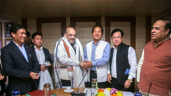 Home Minister Amit Shah during a meeting with various northeastern leaders on Citizenship Amendment Bill (CAB)
