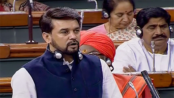 Minister of State for Finance and Corporate Affairs Anurag Singh Thakur speaks in the Lok Sabha during the Winter Session of Parliament