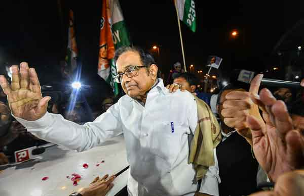 P Chidambaram receives warm welcome after his release from Tihar jail