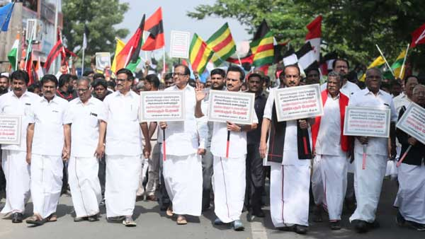Anti-CAA protest: DMK kicks off massive rally in Chennai, Chidambaram joins in