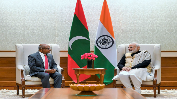 Prime Minister Narendra Modi with Minister of Foreign Affairs of the Republic of Maldives Abdulla Shahid