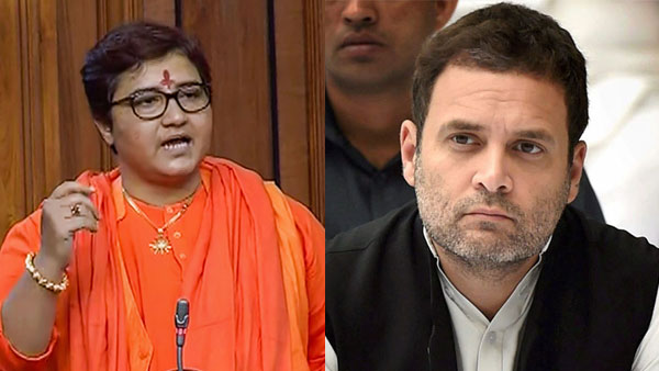 File photo of Pragya Thakur and Rahul Gandhi