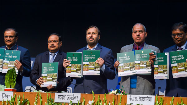 Union minister Prakash JavadekarUnion Environment Minister Prakash Javadekar (C) along with officials releases the India State of Forest Report 2019, in New Delhi