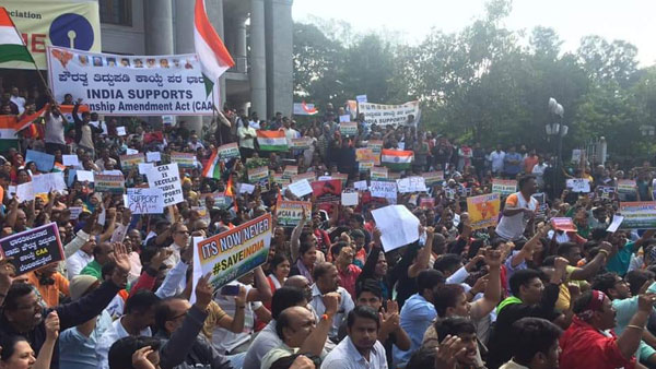 Several organisations stage 'India Supports CAA' rally at Town Hall in Bengaluru