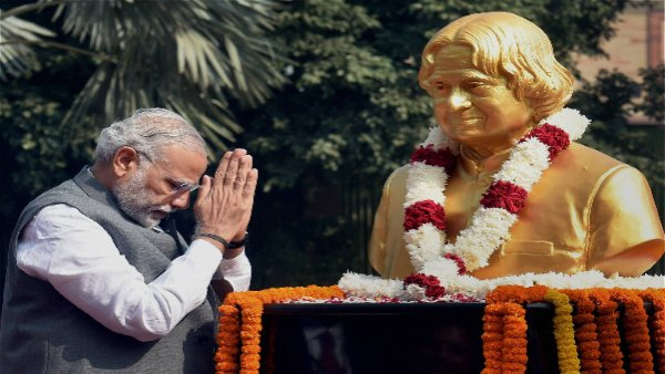 File photo of PM Modi paying tributes to former President A P J Abdul Kalam,