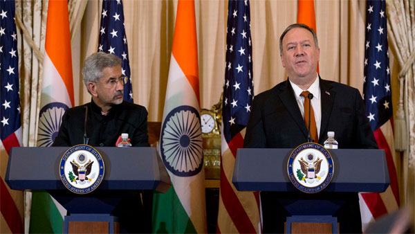 Secretary of State Mike Pompeo accompanied by Indian External Affairs Minister Dr. S. Jaishankar speaks during a news conference after a bilateral meeting the U.S. and India at the Department of State in Washington