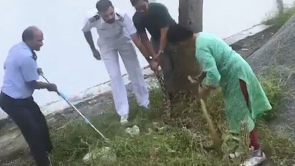 Watch: Navy officers 60-year-old wife rescues 20 kg python in Kerala with bare hands