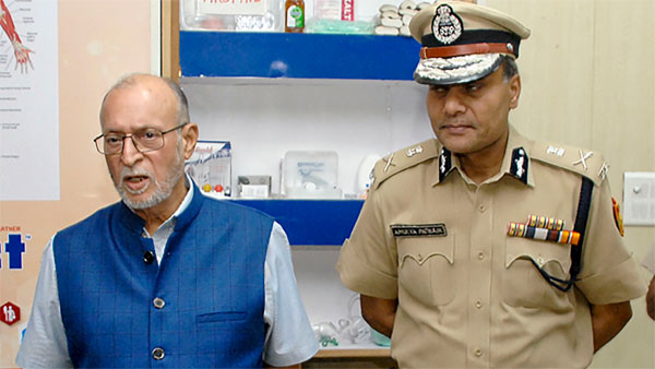 Lt. Governor (LG) Anil Baijal with Delhi Commissioner of Police Amulya Patnaik