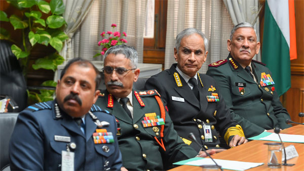 Chief of the Defence Staff Gen. Bipin Rawat, Navy Chief Admiral Karambir Singh and Ary Chief Gen. Manoj Mukund Naravane and IAF chief Air Chief Marshal RKS Bhadauria