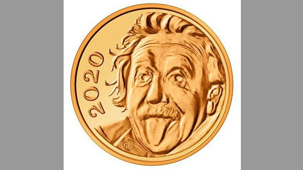 See worlds smallest gold coin measuring 0.12 inches, featuring Einstein sticking out tongue