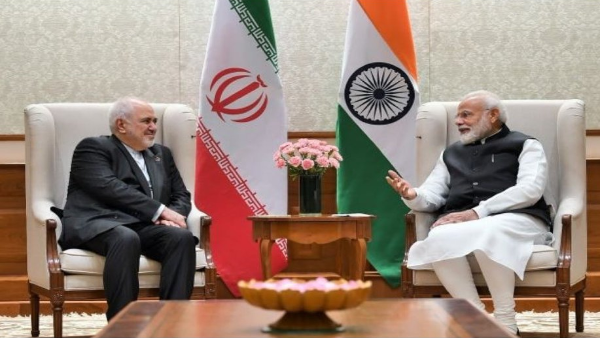 Prime Minister Narendra Modi with Iran's Foreign Minister Javed Zarif in New Delhi on Wednesday. (Twitter/PMO)
