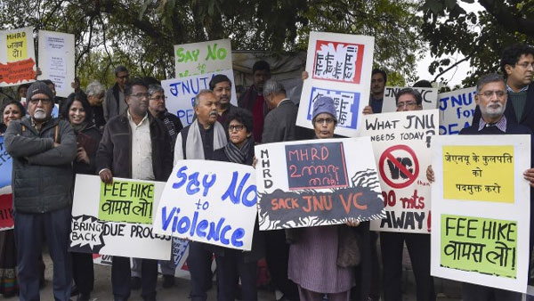 JNU teachers stage protest over Sunday's violence in Delhi