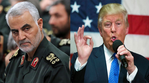File photo of Qasem Soleimani and Donald Trump