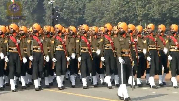 Sikh Light Infantry regiment at Parade with their war cry 'Jo Bole So Nihal, Sat Shri Akal'