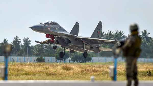 Sukhoi-30MKI fighter aircraft squadron lands at the Thanjavur airbase during its induction ceremony into the Indian Air Force
