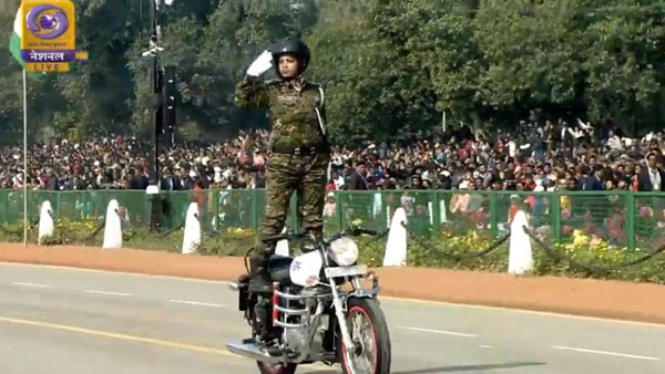 Women CRPF biker team perform daredevil stunts on Royal Enfield Motorcycle