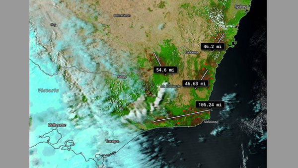 This satellite image of Australian bushfires from NASA shows burn scars in miles