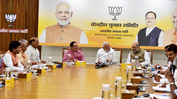 Prime Minister Narendra Modi flanked by Union Home Minister Amit Shah and BJP Working President JP Nadda during partys Central Election Committee (CEC) meeting