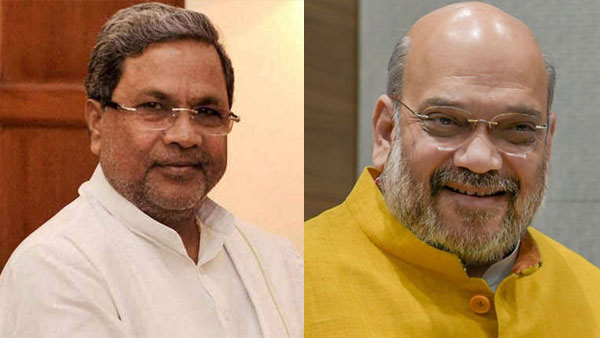 File photo of Siddaramaiah and Amit Shah