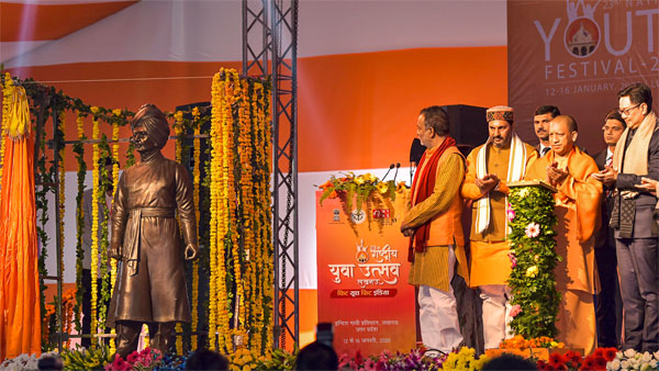 Uttar Pradesh Chief Minister Yogi Adityanath inaugurates the statue of Swami Vivekananda on his 158th birth anniversary during 23rd National Youth Festival in Lucknow