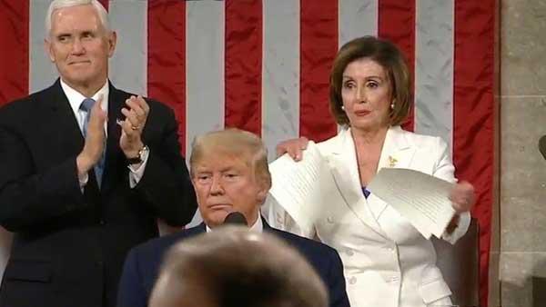Trump snubs Pelosi handshake, she tears up his speech