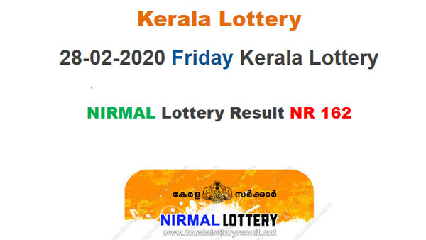 Kerala Lottery Nirmal NR-162 today lottery result LIVE