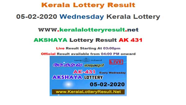 Kerala Lottery Akshaya AK-431 today lottery result LIVE