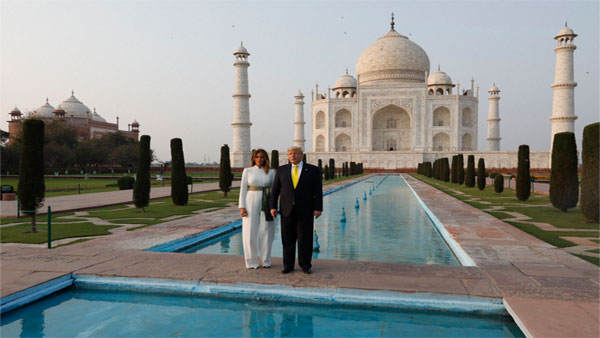U.S. President Donald Trump, and first lady Melania Trump visit the Taj Mahal