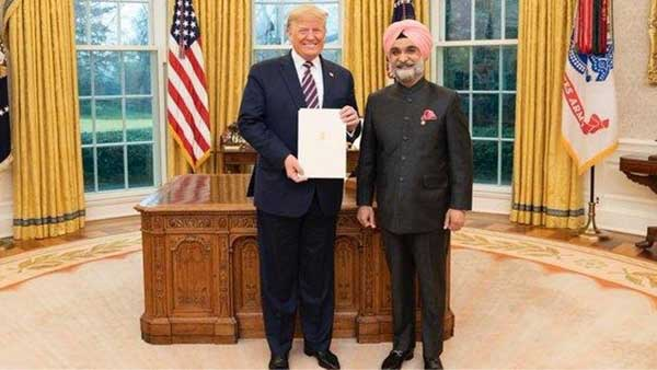India's ambassador presents his credentials to President Trump at White House