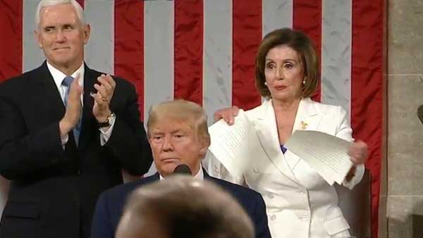 Trump snubs Pelosi handshake, she tears up his speech