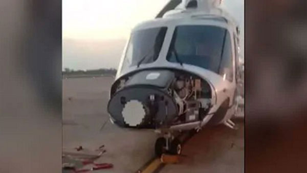 Man sits in front of SpiceJet flight which was about to take off; damages chopper
