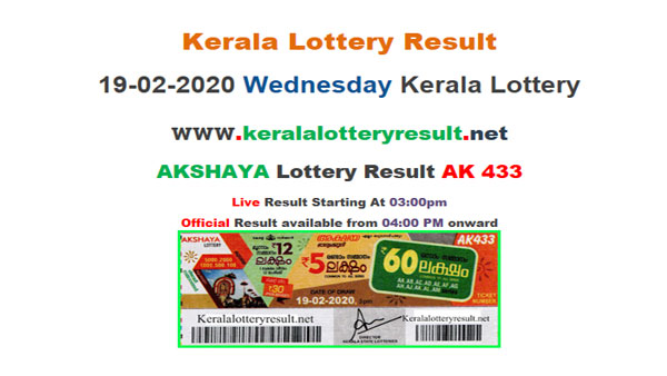 Kerala Lottery Akshaya AK-433 today lottery result LIVE