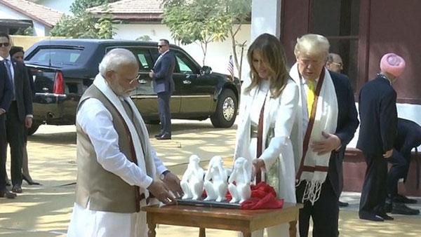 In 15 min, Trump tours Sabarmati Ashram, spins Bapus Charkha, gifted Three Wise Monkeys