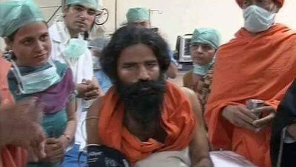 Baba Ramdev in hospital? Yes, but that image is from 2011 ...