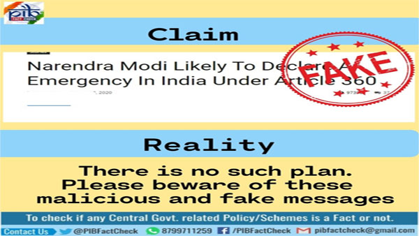 Article claiming Modi will declare financial emergency in India is fake