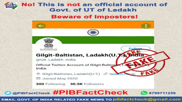 Fake Twitter handle of Gilgit-Baltistan, Ladah UT India surfaces