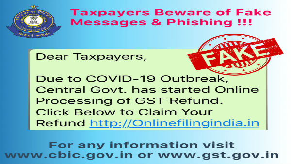 Fake: Do not click on this link for online processing of GST refund