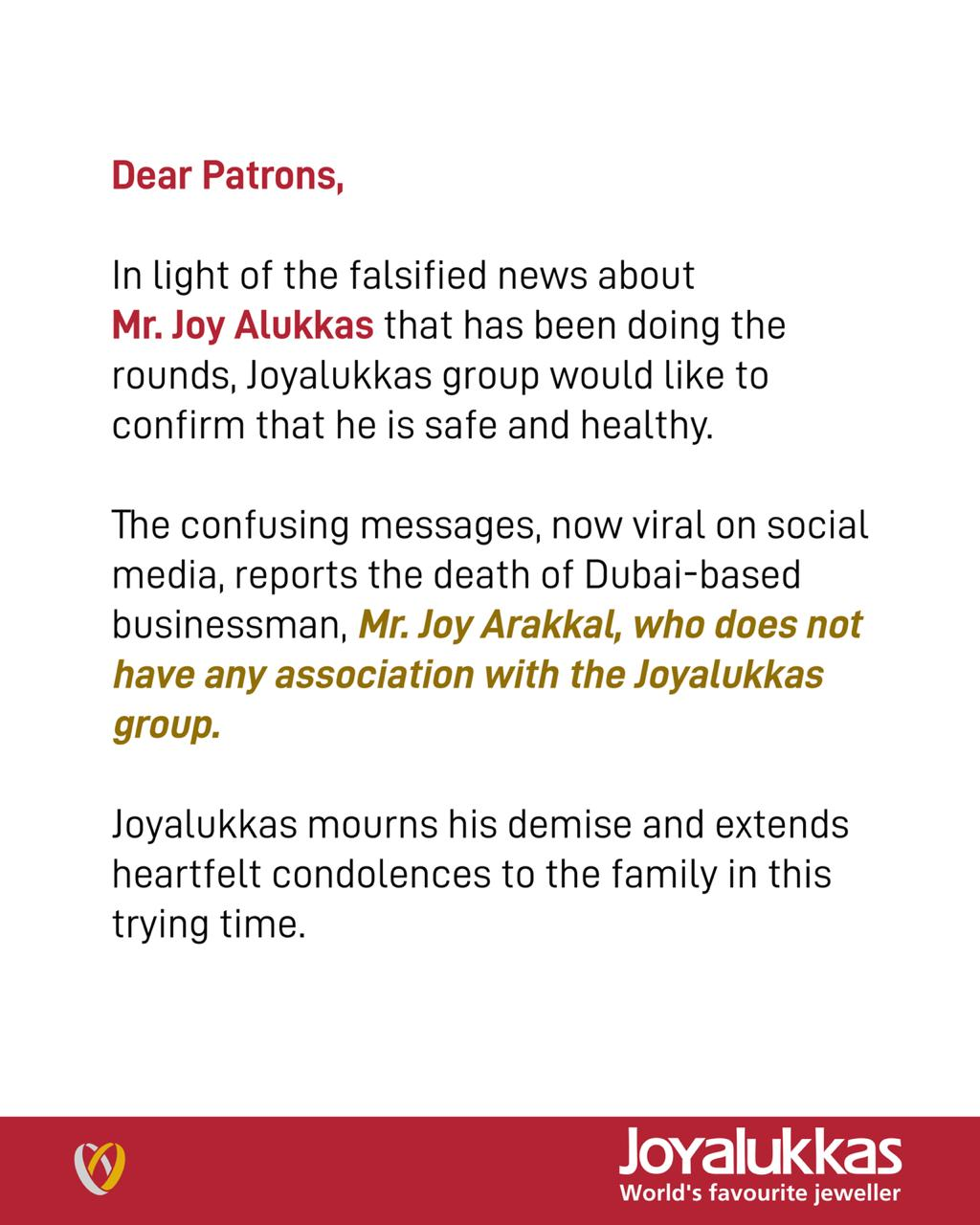 Fact check: Message stating Joyalukkas founder died due to coronavirus is fake