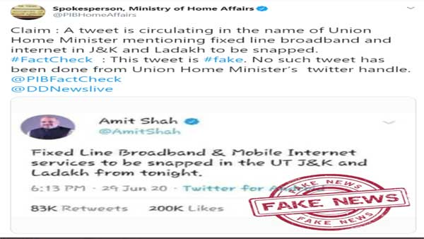 Fake: Amit Shah did not say mobile internet services will be snapped in J&K