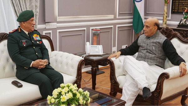 Defence Minister Rajnath Singh during a meeting with Chief of the Defence Staff General Bipin Rawat in New Delhi