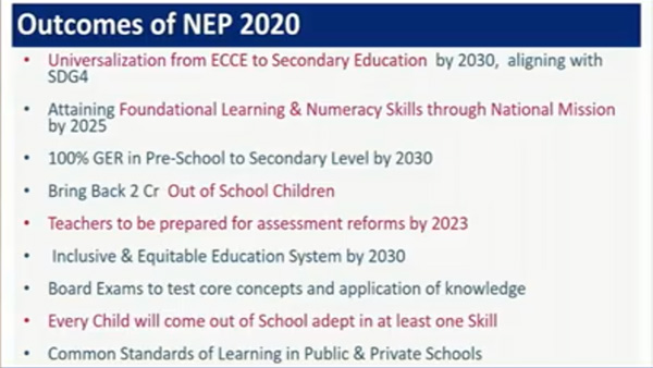Outcome of NEP 2020