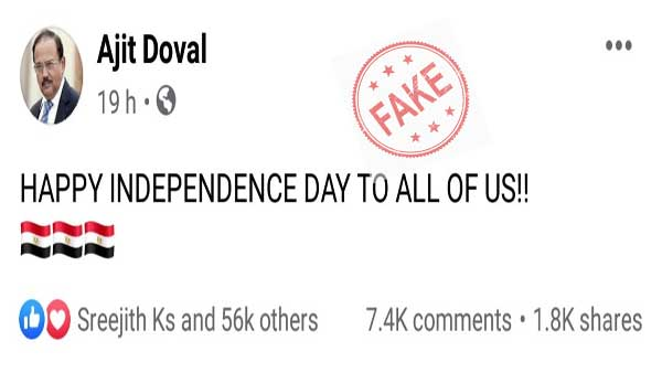 Fake: Ajit Doval did not wish Egyptians a happy Independence Day on August 15