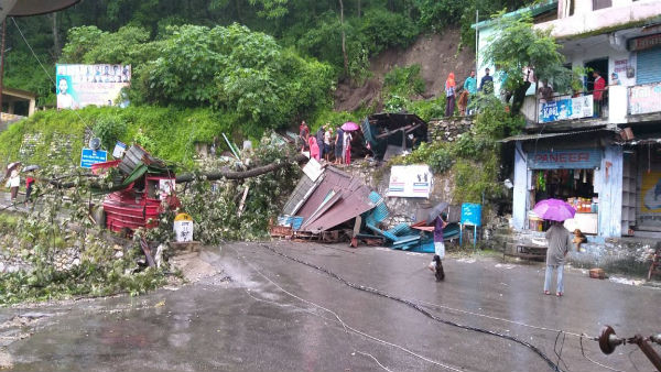 Several shops damaged in Landslide at Badrinath national highway as incessant rains lash Uttarakhand